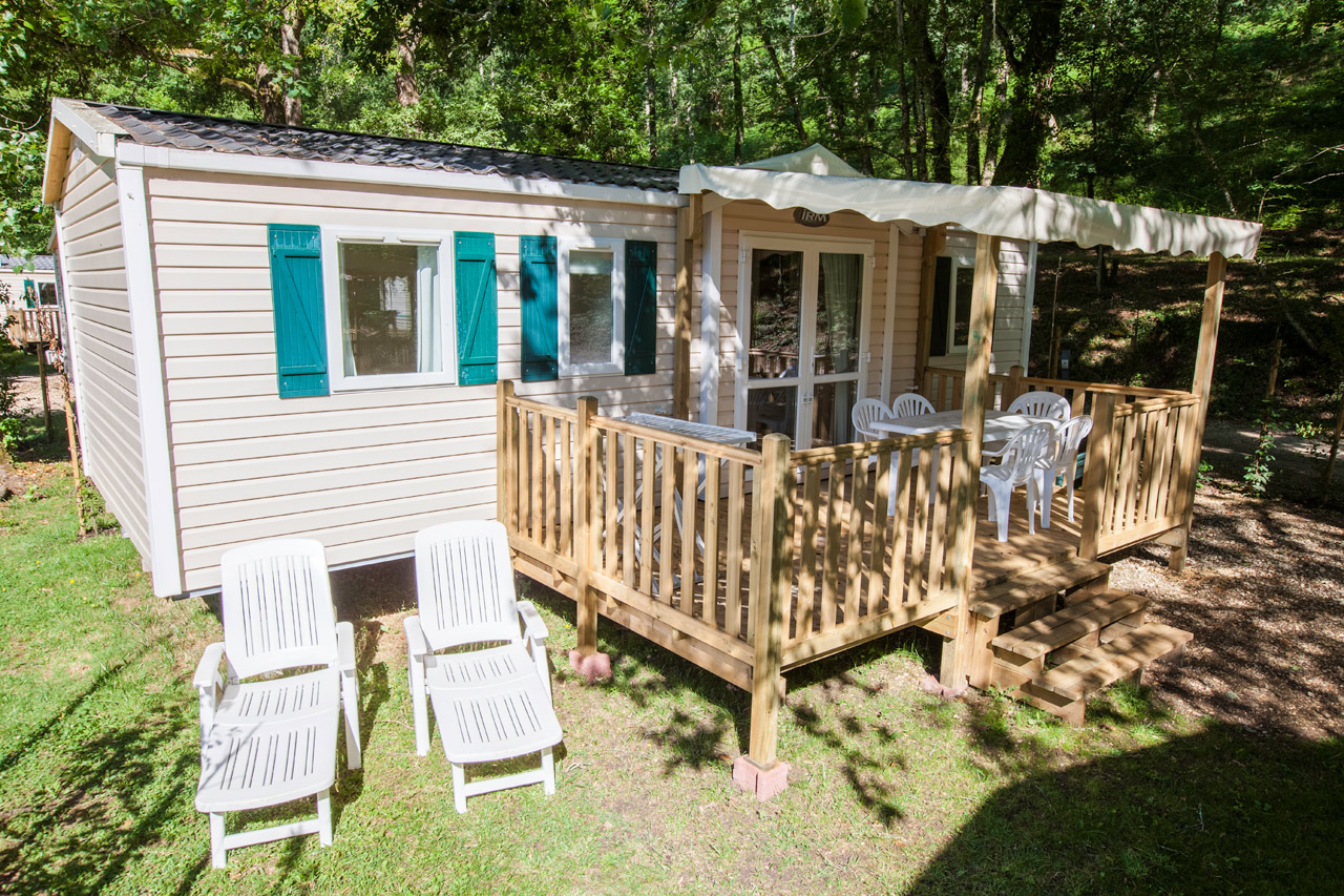 Location mobil-home - Camping Dordogne (24) Mobilhome LILAS 6 personnes 3 chambres 32 m²